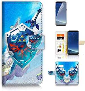 (for Samsung Galaxy S8) Flip Wallet Style Case Cover, Shock Protection Design with Screen Protector - B31103 Legend of Zelda