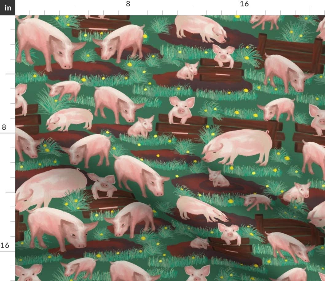 Spoonflower Fabric - Pigs Green Grass Animals Low price Farm Farmyard Barn supreme