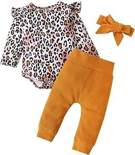 3 قطع من ملابس الأطفال الرضع البنات الرضع الكشكشة ثوب نمر رومبير + بنطلون مضلع + عصابة رأس مجموعة أزياء الخريف