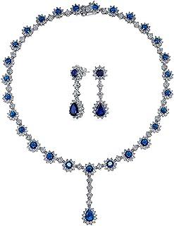 Bling Jewelry AAA Nupcial CZ Zirconio Cúbico Azul Royal Crown Juego Zafiro Simulado Y Declaración Anillo Juego Collar Chapado En Plata