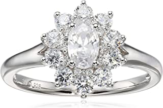 Sterling Silver Cubic Zirconia Oval Halo Ring, Size 7