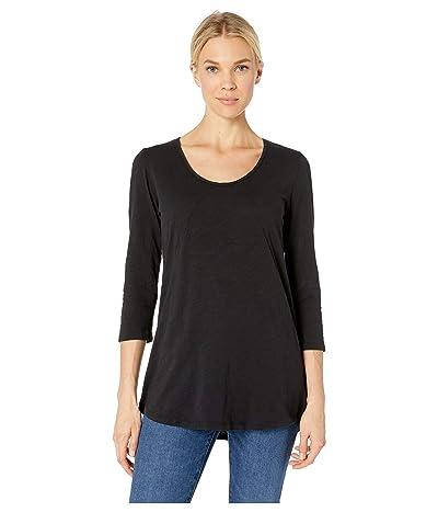 Mod-o-doc 3/4 Sleeve Tee with Diagonal Seams and Pockets in Slub Jersey (Black) Women