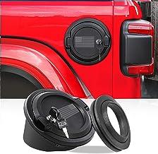 JeCar Fuel Filler Cover Locking Gas Tank Door Aluminum Alloy Gas Cap Cover Exterior Accessories for 2018 2019 2020 Jeep Wrangler JL JLU, US Flag