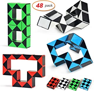 Yo-fobu 48 Pack Snake Cube Blocks Twist Puzzle Collection Snake Speed Cubes Skew Speed Cube for Party Favours Stress Relieve