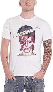 David Bowie デビッド・ボウイ Aladdin Sane Face アラジン・セイン 公式 メンズ ホワイト 白 Tシャツ 全サイズ