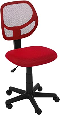The Chair House - Mesh Medium Back Computer Desk Task Office Chair, Armless Chair in Red