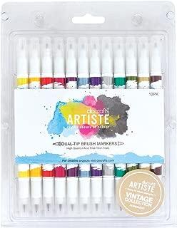 docrafts Artiste Dual Tip Brush Markers, Vintage, 12-Pack