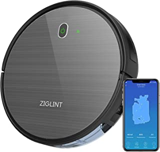 ZIGLINT D5 Robot Vacuum Cleaner, App & Remote Controls, Alexa & Google Home Connectivity, 1800Pa High Suction, Self-Charging Robotic Vacuum Cleaner for Pet Hair Hard Floor Carpets, 2-Year Warranty
