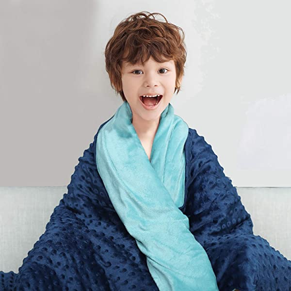 CHIAVE Weighted Blanket For Kids And Adults 10 Lbs 48 X72 Plush Minky I Removable And Washable Cover I Perfect For Teens Adults From 80 To 125 Lbs Navy And Blue