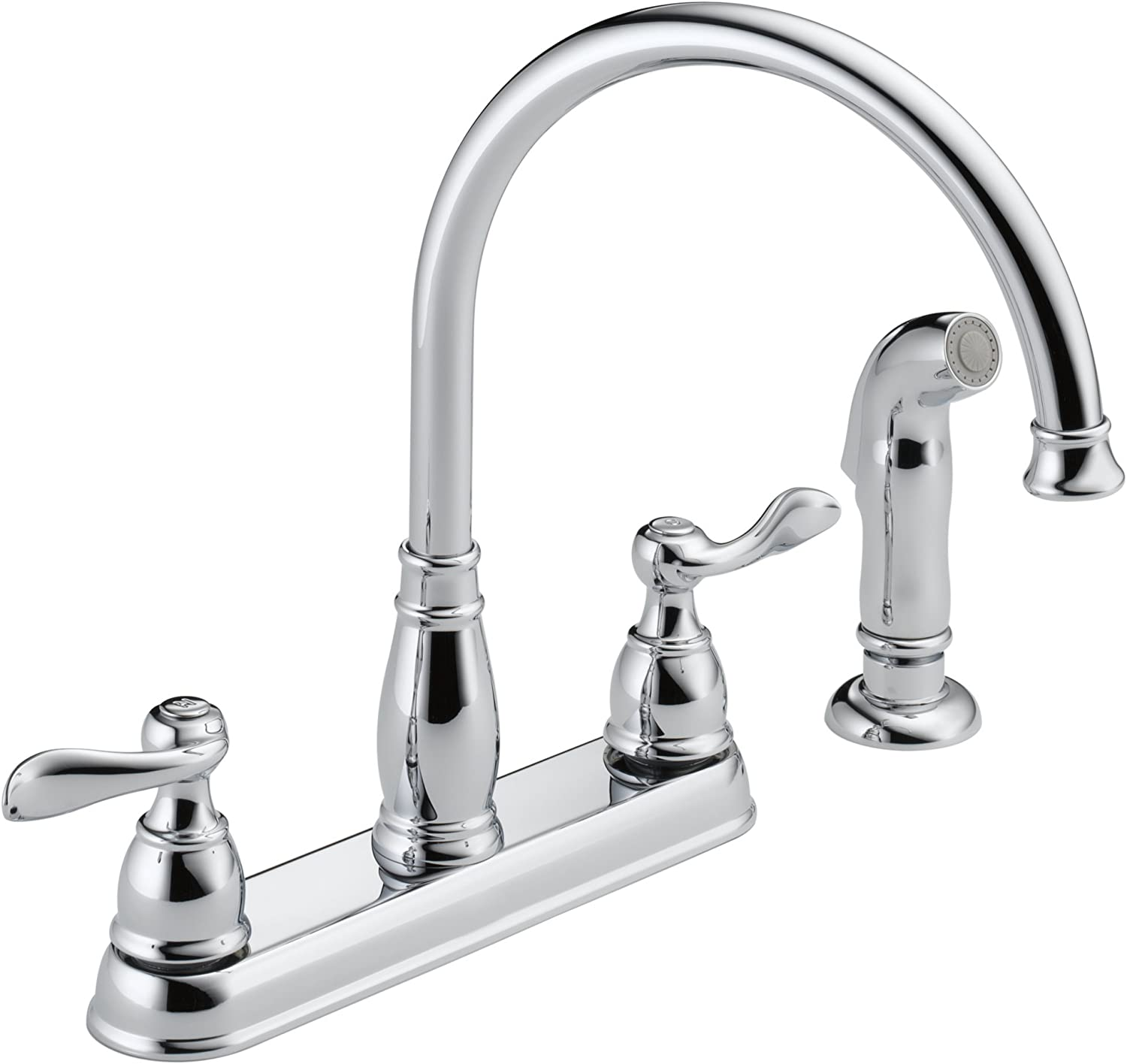 Delta Windemere 2 Handle Kitchen Sink Faucet With Side Sprayer In Matching Finish Chrome 21996lf Touch On Kitchen Sink Faucets Amazon Com