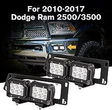 ALAVENTE Front Dually Fog Light Hidden Bumper Mounting Brackets for Dodge Ram 2500/3500 2010-2017 Dual Foglamp Upgrade Hidden Bumper Mount Brackets