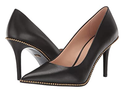 COACH 85 mm Waverly Pump with Beadchain (Black Leather) Women