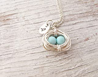Mother's Necklace, Silver Bird Nest, Wire Wrapped, Robin Egg Necklace, Mama Bird