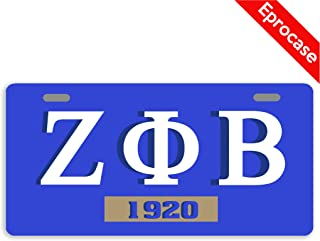 Eprocase License Plate Zeta Phi Beta 1920 License Plate Cover Decorative Car Tag Sign Metal Auto Tag Novelty Front License Plate 2 Holes (11.8