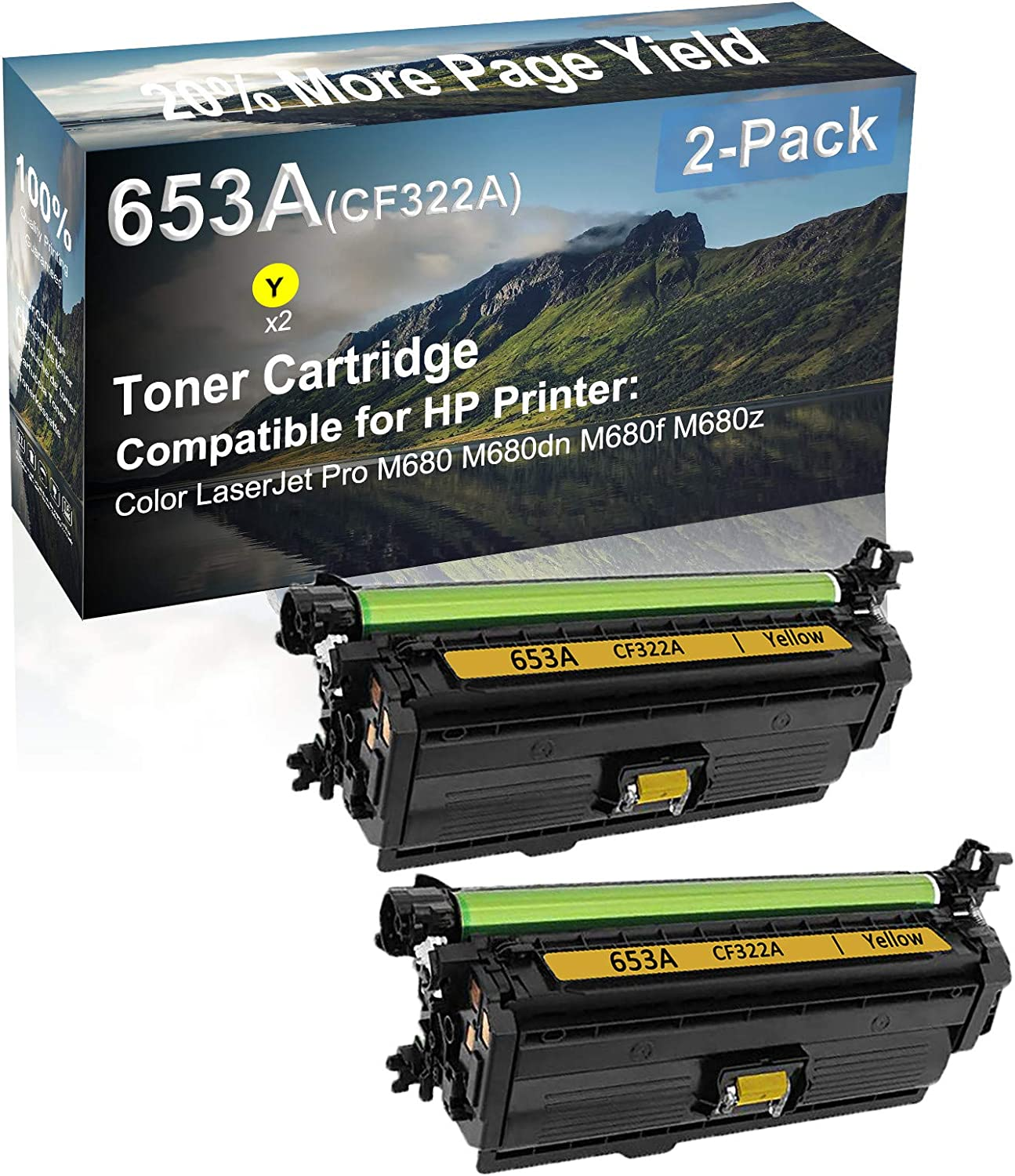 2-Pack (Yellow) Compatible M680 M680dn M680f M680z Printer Toner Cartridge High Capacity Replacement for HP (CF322A) 653A Toner Cartridge