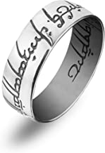 The One Ring To Rule Them All 925 Sterling Silver Replica Engraved Ring of Power Lord of the Rings LOTR Elvish Band Ring Magic Jewelry for Men Women Teens Handmade