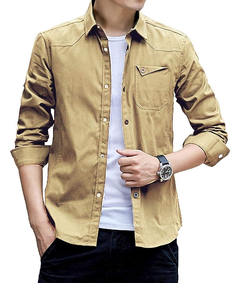 羊飼い宿る安全J.STORE [ジェイストア] メタル ボタン シャツ メンズ ぼたん付き カジュアル コットン シャツ ポケットウエスタンシャツ