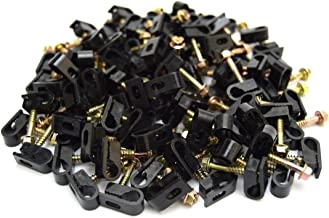 100 pcs Single Black Mounting Flex Clips w/Strain Relief Screw RG6 RG59