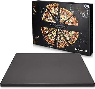 Navaris Piedra para pizza refractaria - Base rectangular para horno barbacoa o leña - Placa de cordierita para hornear pan - 45 x 35 x 1.5 CM - Negro