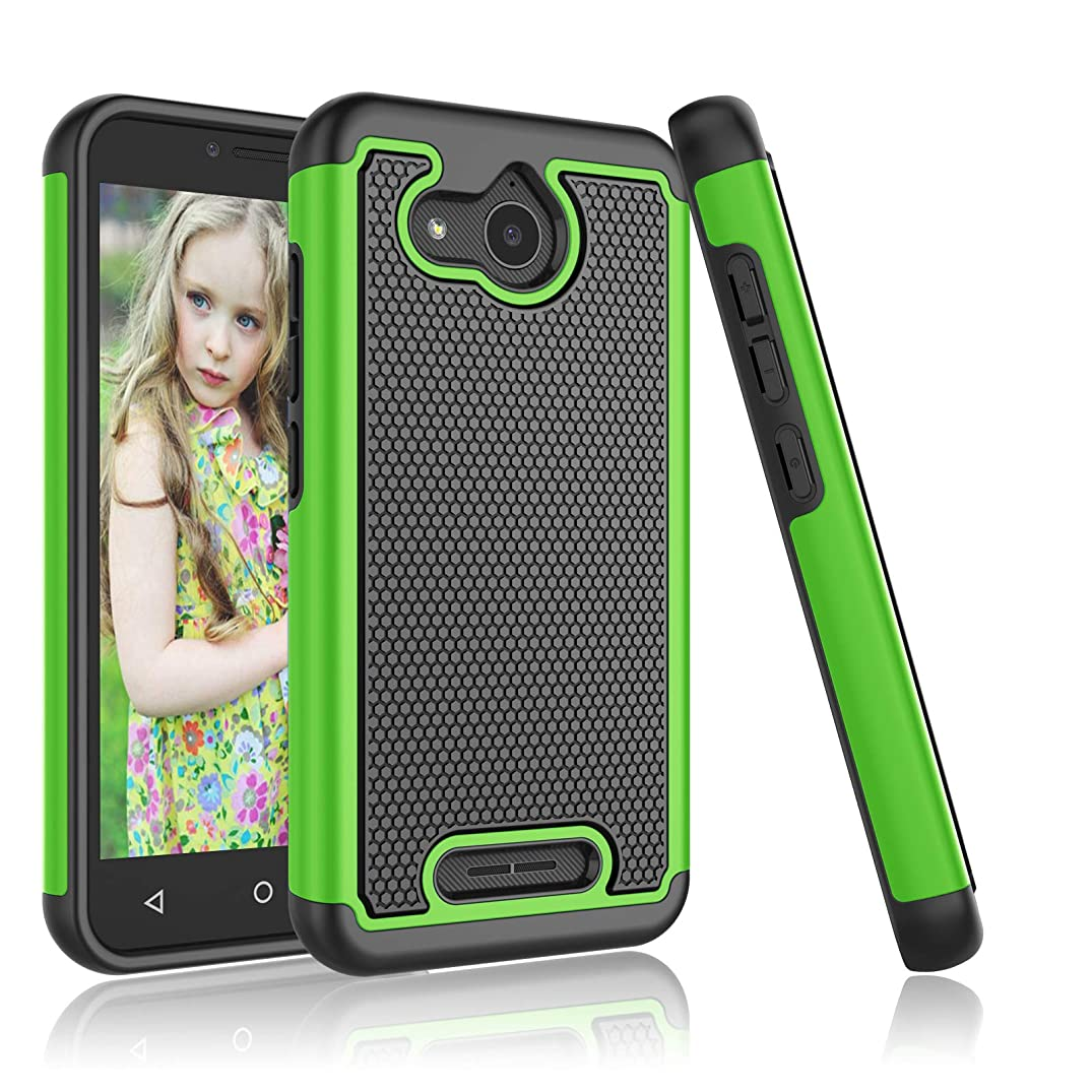 Alcatel Tetra Case, Alcatel Tetra /5041C Cute Case, Njjex [Nveins] Impact Hybrid Dual Layers Hard Back + Soft Silicone Rubber Armor Defender Shockproof Slim Phone Cover for Alcatel Tetra 2018 [Green]