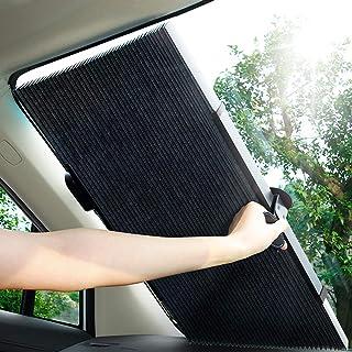 車用遮光サンシェード 車窓日よけ 遮光フロントサンシェード サンシェードカーシェード カーフロントガラスカバー フロントカバー 日焼け止め uvカット便利なストレージ 自動折りたたみ式 切断可能 取り除く必要がない 遮光断熱 (65(H)CM)