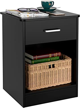 HOMFA Nightstand 2-Tier, Tall 1-Drawer End Table Side Table File Cabinet Storage Table for Home Office Bedside Cabinets with