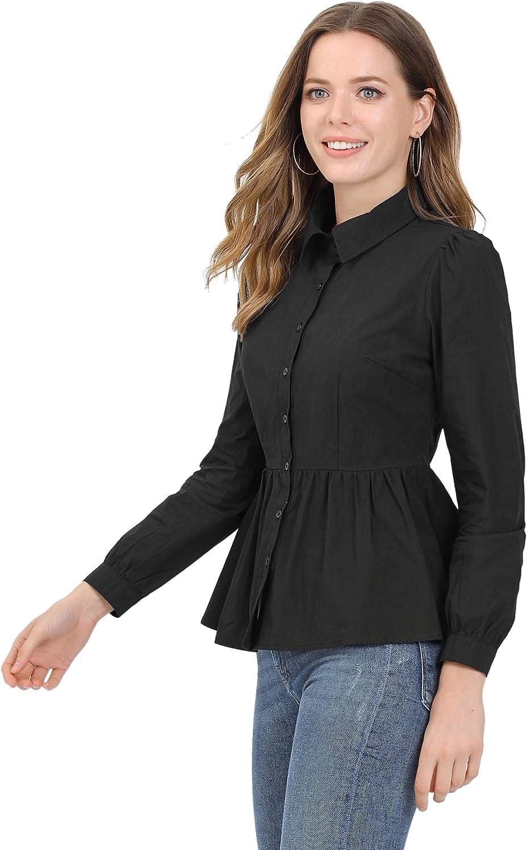 Allegra K Women's Cotton Button-Down Puff Long Sleeve Ruffle Peplum Work Office Shirt