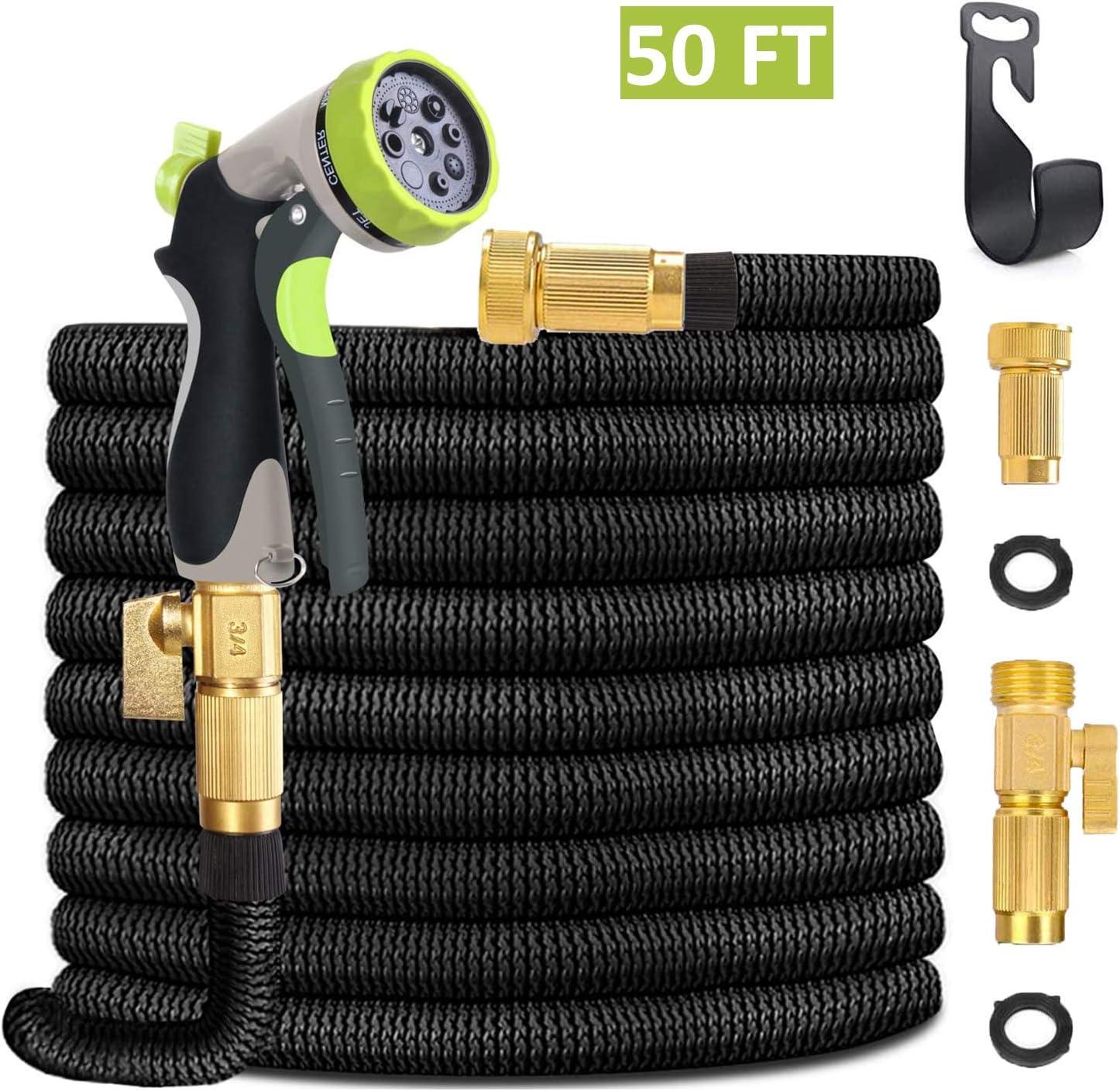 Tminnov 50Ft  8-Spray Nozzle Expandable Garden Hose  $14.49 Coupon