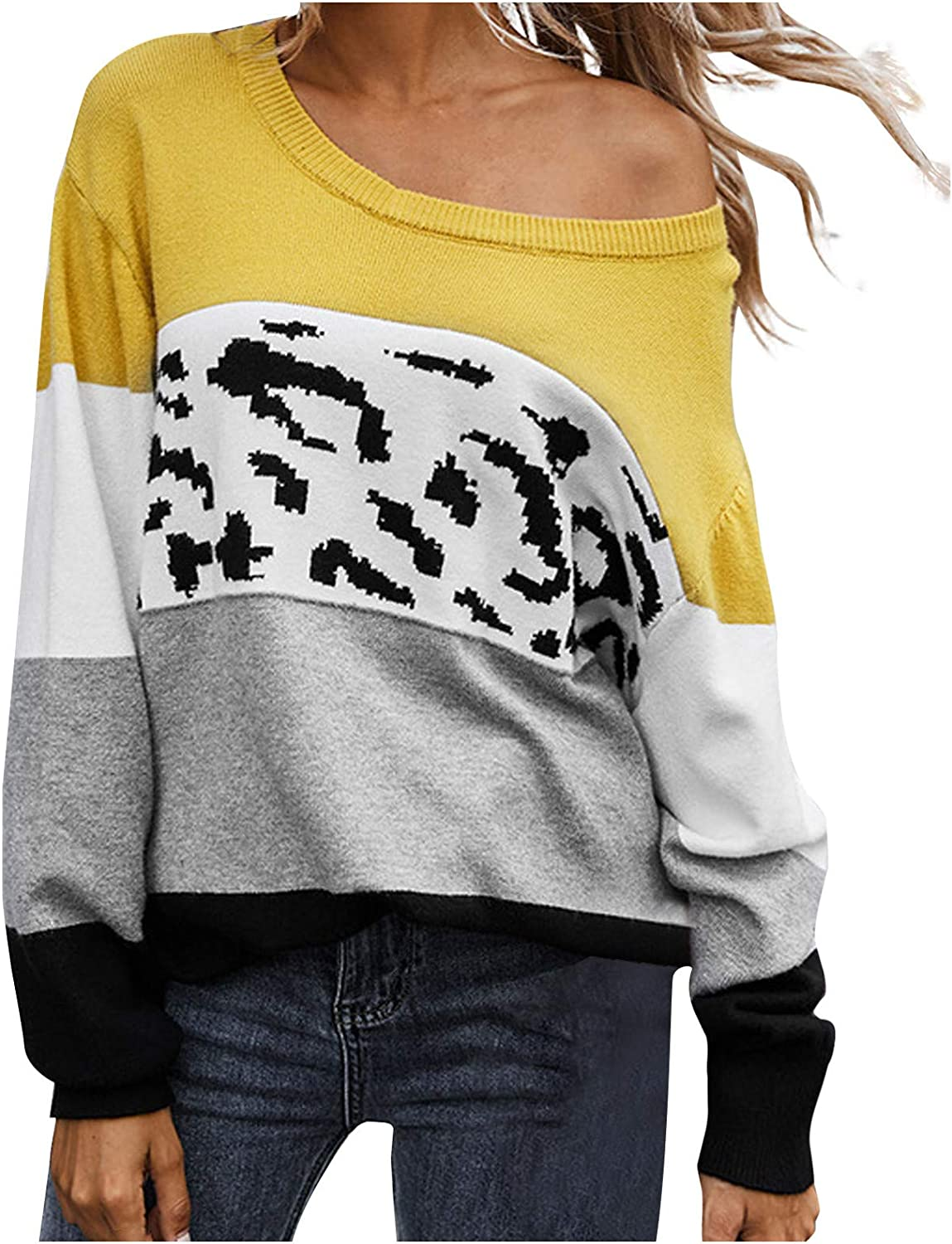 Womens Crew Neck Sweater Loose Patchwork Color Block Sweatershirt Long Sleeve Pullover Casual Comfy Jumper Blouse