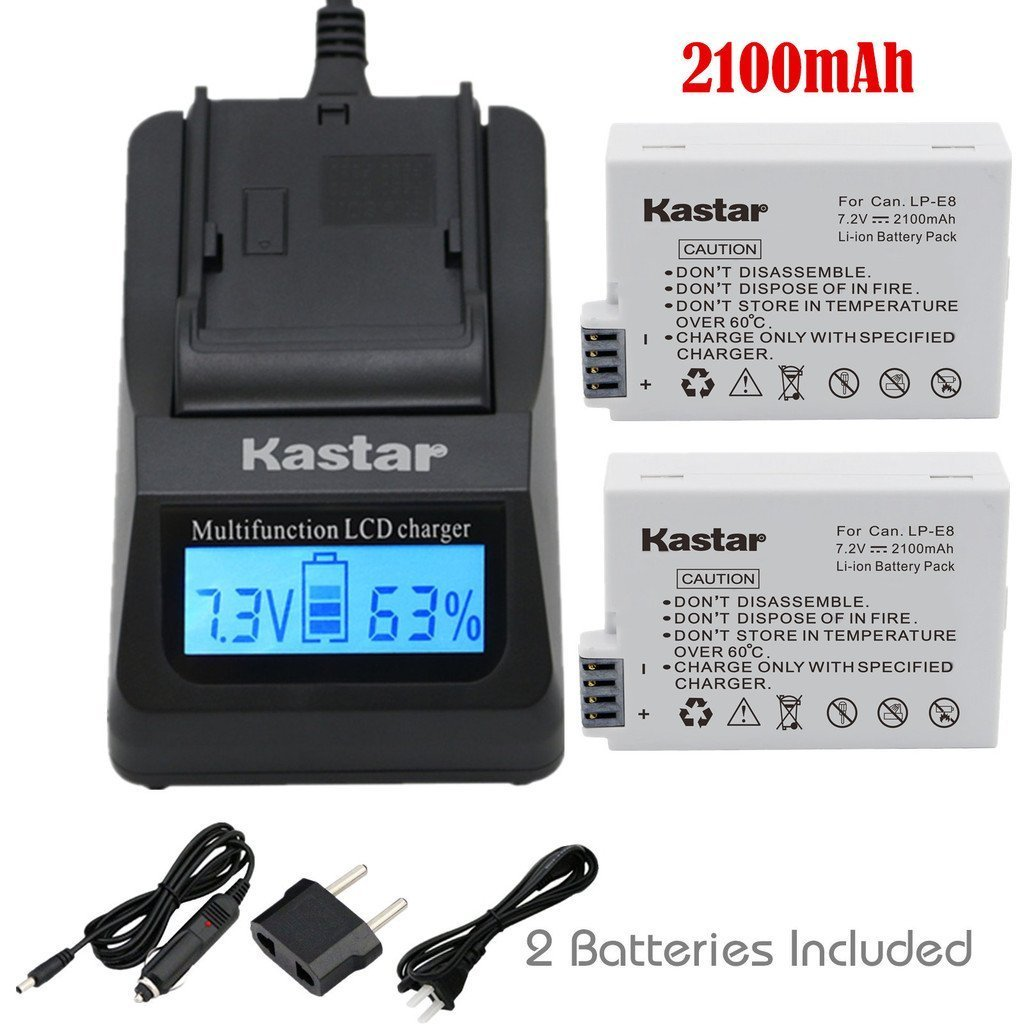 Kastar Ultra Fast Charger(3X faster) Kit and Battery (2 Pack) for Canon LP E8, LC E8E work with Canon EOS 550D, EOS 600D, EOS 650D, EOS 700D, EOS