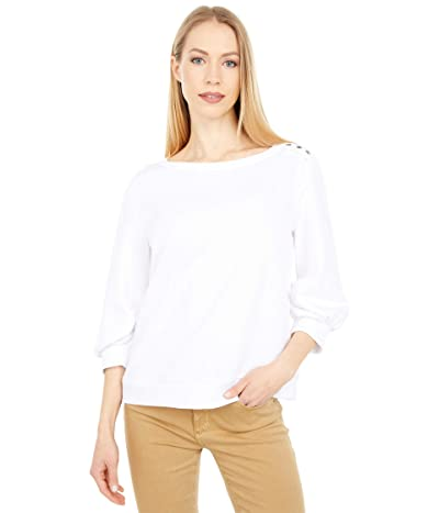 Vince Camuto Puff Sleeve Solid Terry Snap Shoulder Top
