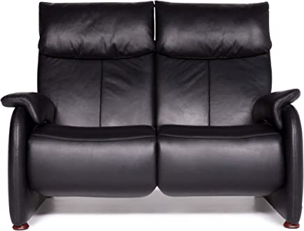 Himolla Designer Leather Sofa Black Two-Seater Function Couch