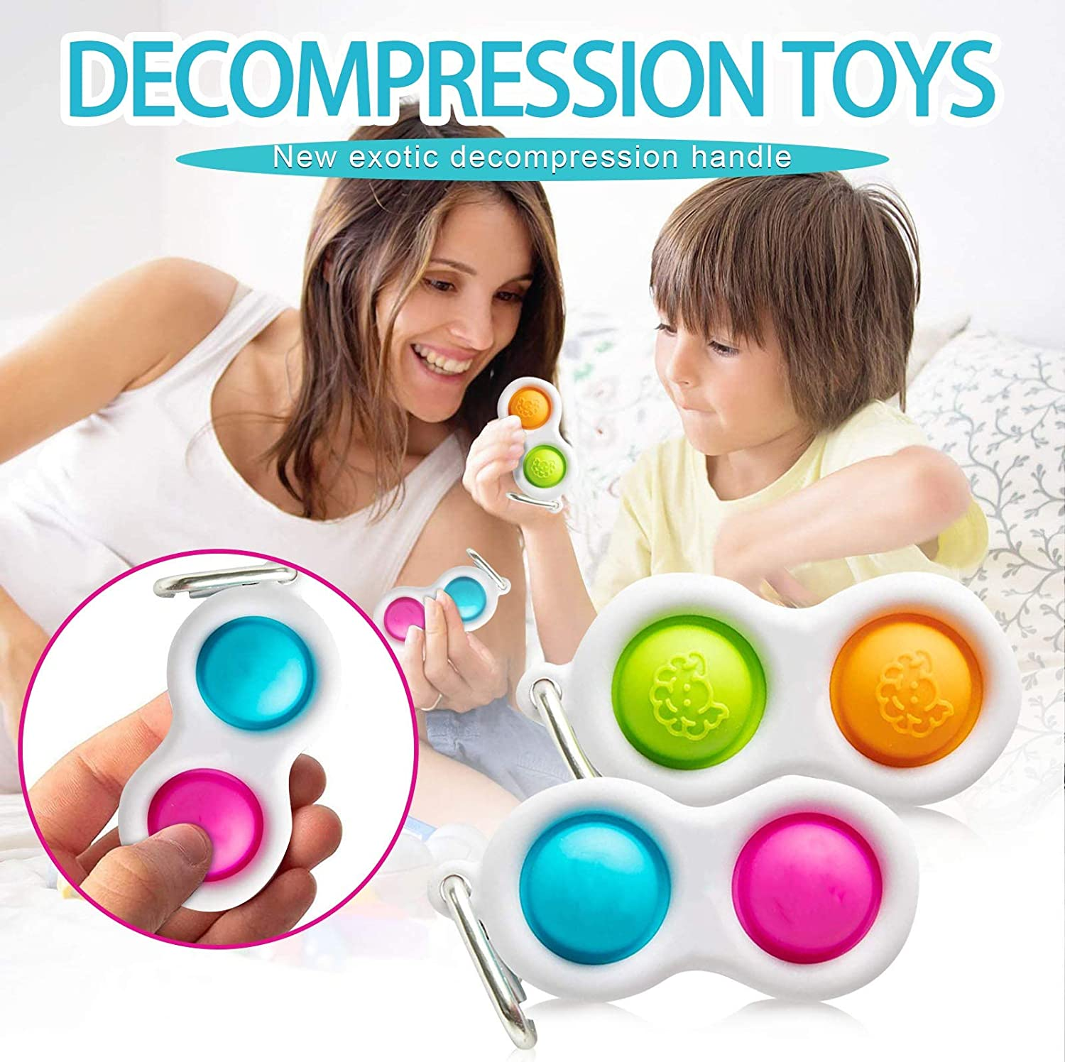 Simple Dimple Fidget Toy 8 Stress Relief Functions,Anti Stress Spielzeug Easy to Carry Squeeze F/ür Kinder Erwachsenes for ADHS