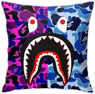 Trikahan Bape Blood Shark Throw Pillow Cases Decorative Soft Square Throw Pillow Cover Cushion Case for Sofa 18 X 18 Inch