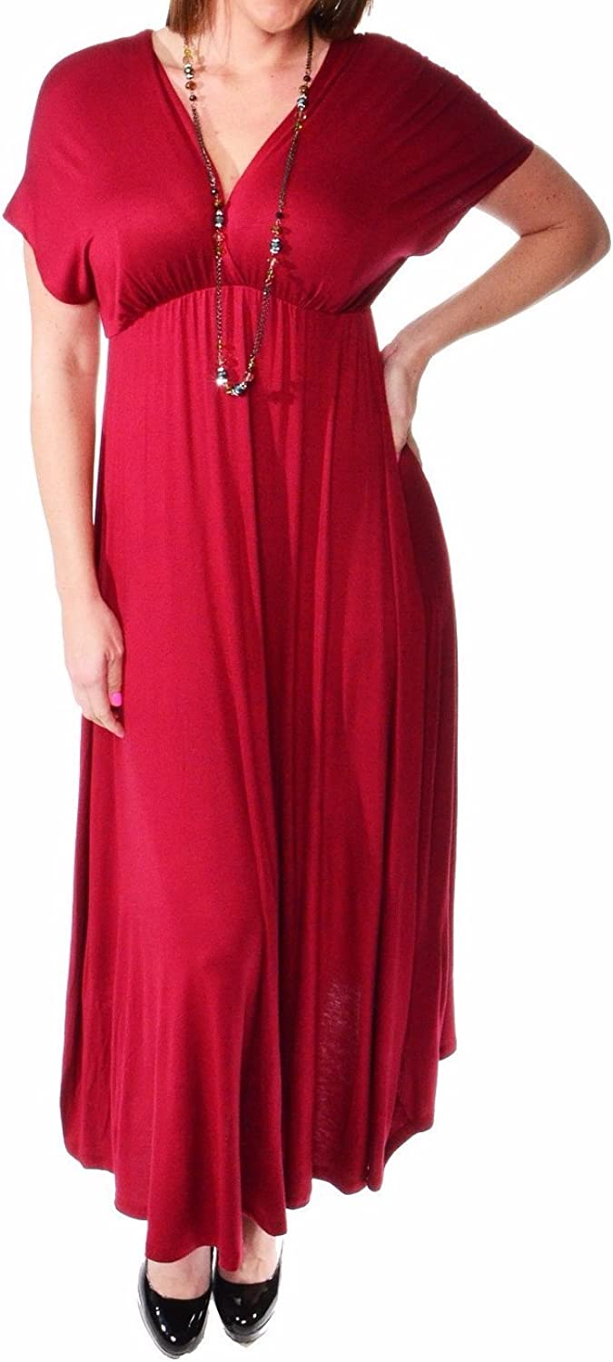 24seven Comfort Apparel Plus Size Clothing for Women V Neck Empire Waist Maxi Dress - Made in USA - (Sizes 1XL-3XL)
