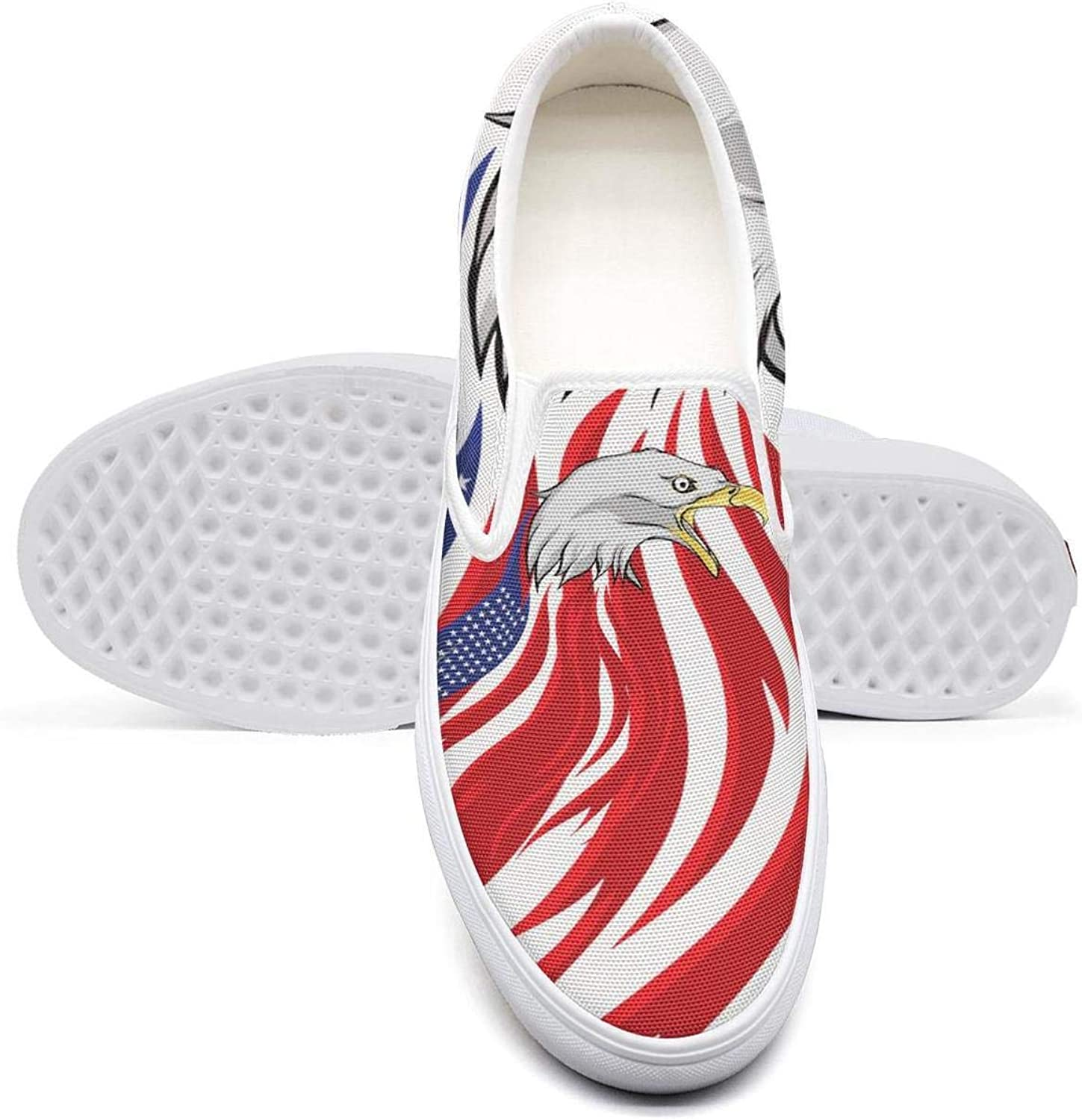 Eredfs Camo Fierce Eagle American Flag Lady Classic Canvas Sneakers Comfortable Runners