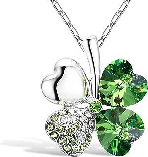 Four Leaf Clover Heart-Shaped Crystal Pendant Necklace 16