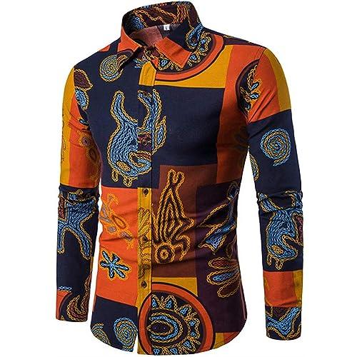 965c07f7c6ff EMAOR Mens Stylish Floral Long Sleeve Shirt & Short Sleeve Shirt