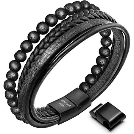 18CM COWHIDE BLACK LEATHER BRACELET WITH SILVER TONE MAGNETIC CLASP