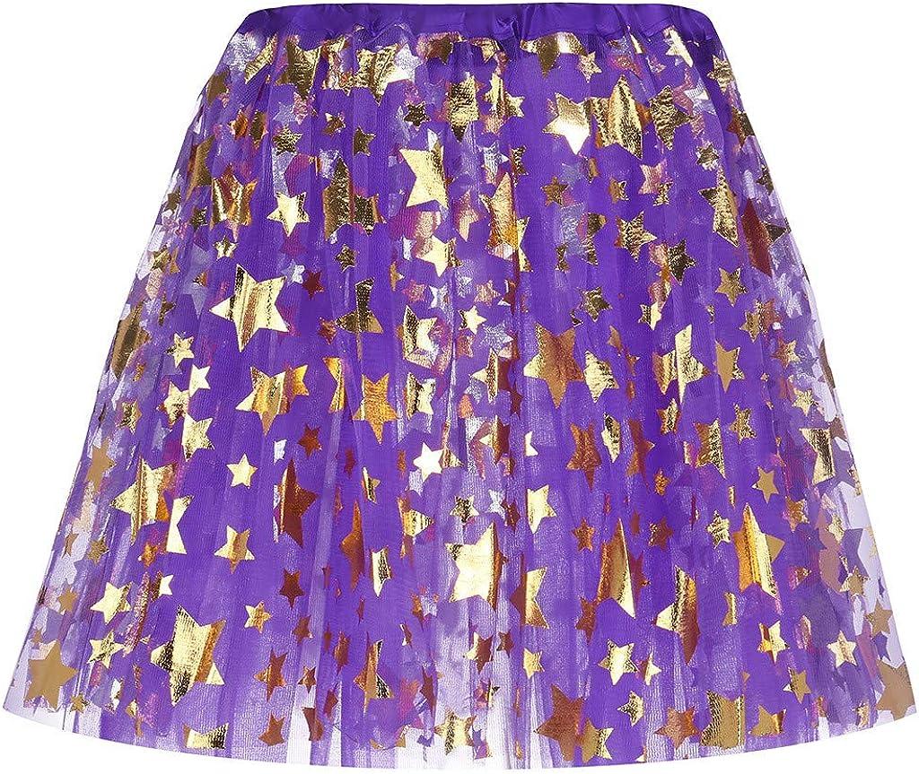 Basysin Womens' Pleated 3 Layered Gauze Mesh Star Short Skirt Adult Tutu Dancing Mini Skirt