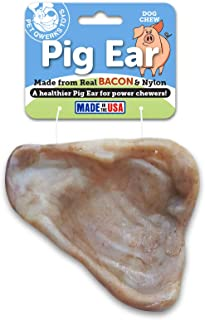 Pet Qwerks REAL BACON Infused Pig Ear Dog Chew Toy - Durable Dog Bones for Aggressive Chewers, Tough Power Chewer Bone Toy...