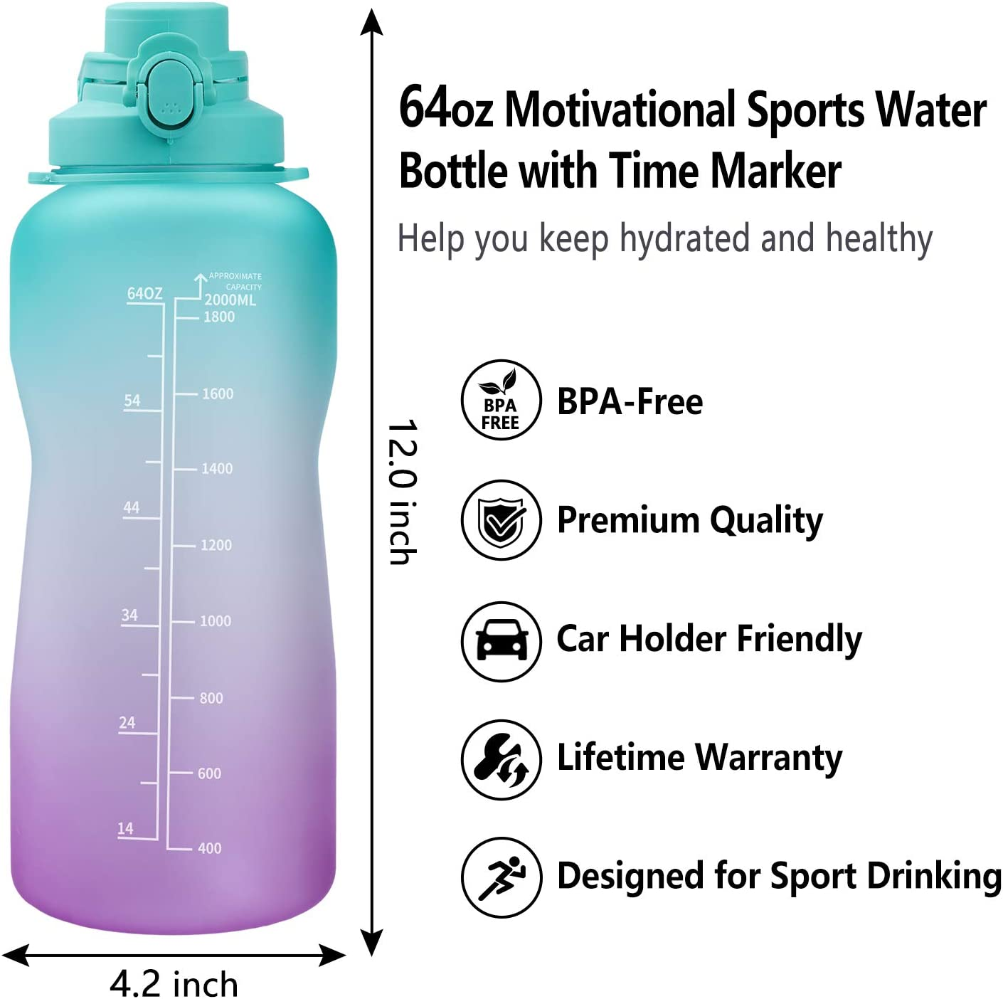 Azebo 3800ml//2000ml//1600ml Large Water Bottle with Time Marker /& Removable Strainer Tritan BPA Free Non-Toxic 128//64//54oz for Fitness Sports Outdoors and Office-E3SHD010-Blue-1.6L
