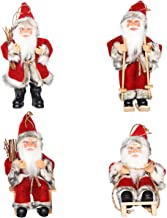 CHENGMON Christmas Santa Claus Ornaments Decorations Tree Hanging Figurines Collection Doll Pendant Small Traditional Holding Home Decors Set of 4 Pcs Assortment Pack 6