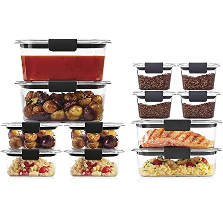 Rubbermaid Brilliance Storage 24-Piece Plastic Lids   BPA Free, Leak Proof Food Container, Clear