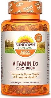 Sundown Vitamin D3 1000 IU, Supports Bone, Teeth, & Immune Health, 400 Softgels