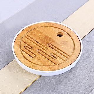 Hoobar Bamboo Kungfu Tea Tray Table Serving Tray Chinese Style Water Storage Gongfu Tea Tray (White 1)
