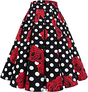 Women's Vintage Pleated Skirt Floral Printed A-line Swing Skirt with Pockets