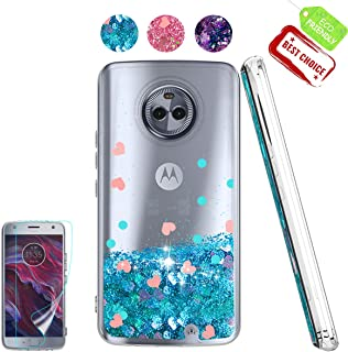 Moto X4 Case with HD Screen Protector for Girl Woman, Atump Cute Glitter Series Quicksand Liquid Floating Flowing Sparkle Bling Clear Soft Case for Motorola Moto X4 (2017) Blue