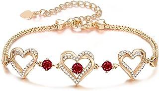 Forever Love Heart Birthstone Bracelet for Women 925...