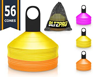 Bltzpro Disc Cones (Set of 56) - Agility Soccer Cones with Carry Bag and Holder for Training & Coaching, Football, Kids, Team Sports, Field Cone Markers - Includes Top 25 Drills eBook